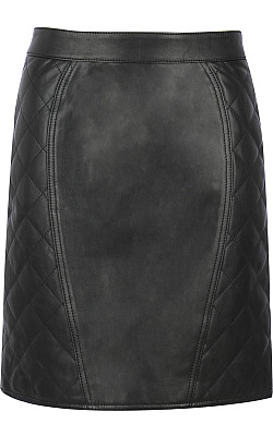 Black Rivet Quilted Leather Pencil Skirt Wilsons Leather